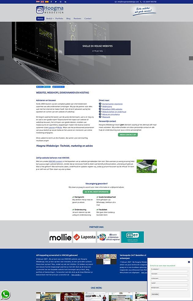 Captura de pantalla del enlace API integrado en HWCMS - Hoogma Webdesign Beerta