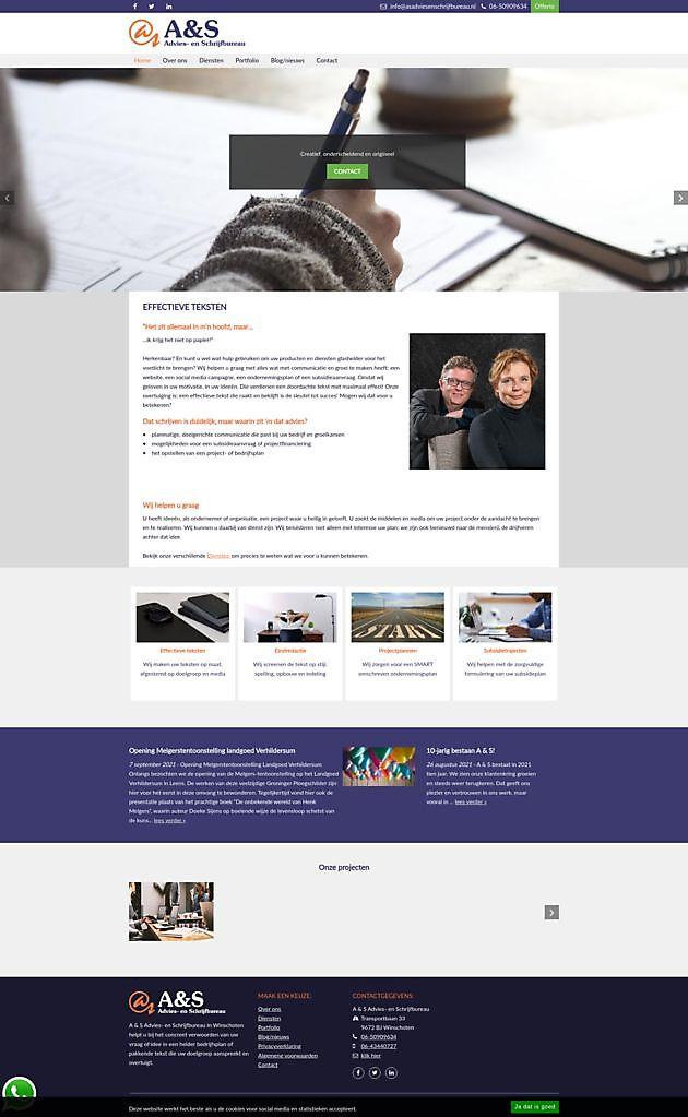 A & S Advies- en Schrijfbureau - Hoogma Webdesign Beerta